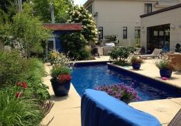 piscine bien entourée
