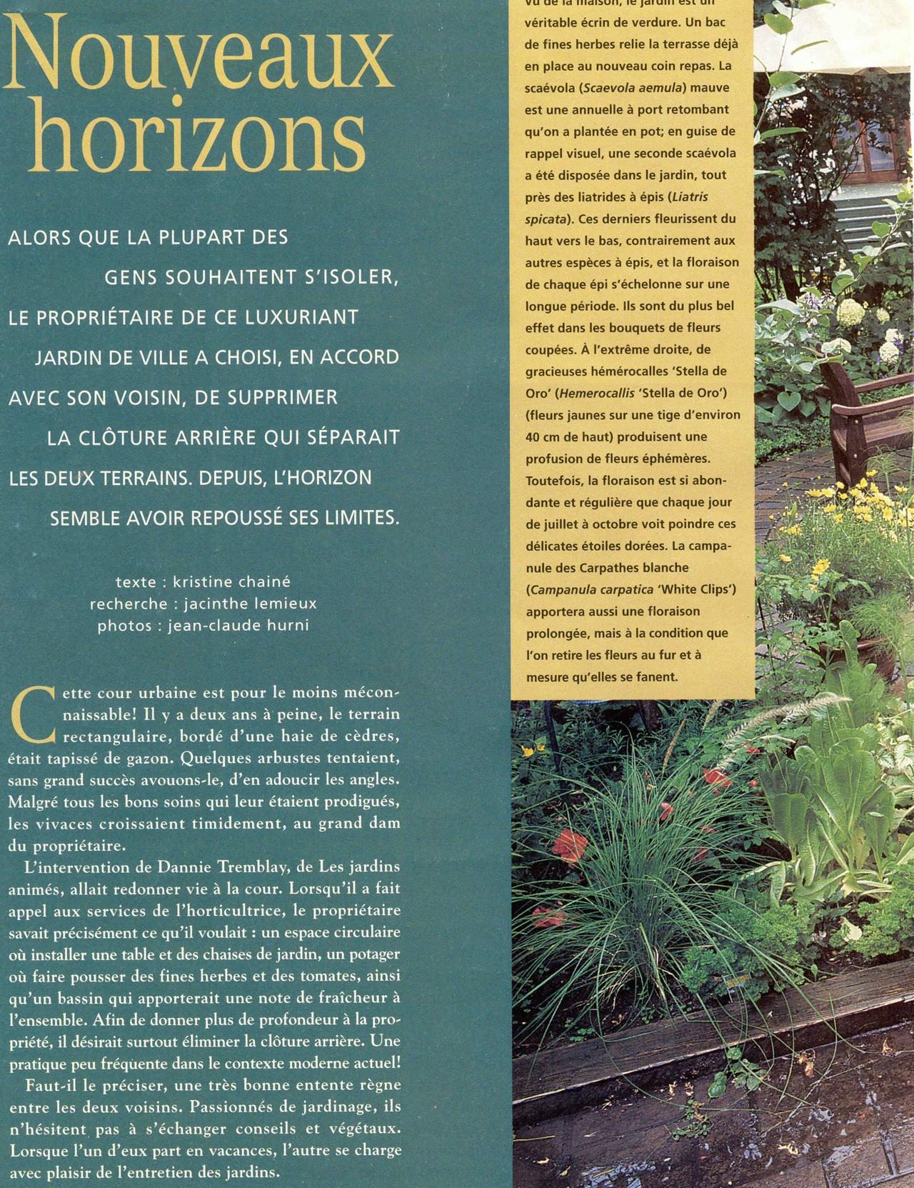 Nouveaux horizons, Côté Jardins no 2, été 1998