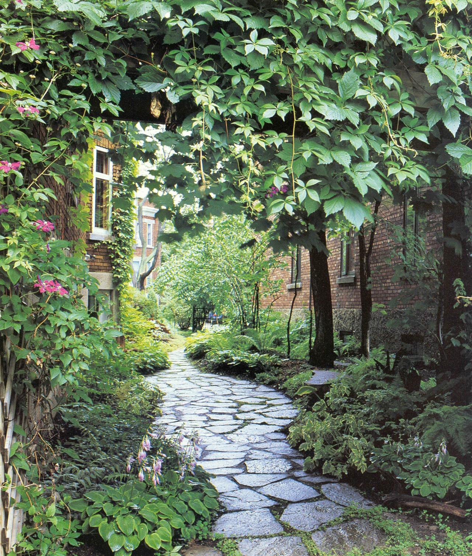 Allée verdoyante,coté jardins no 3, automne 1998