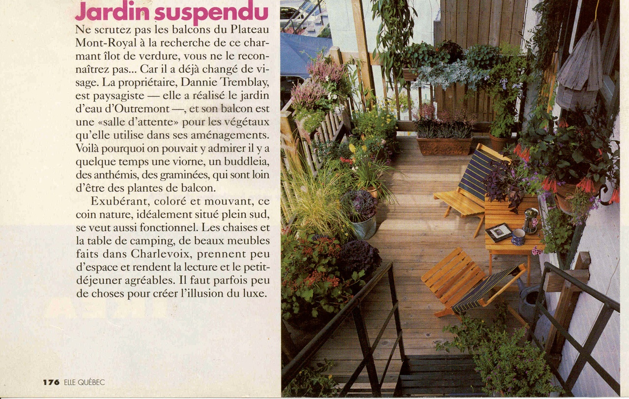 Jardin suspendu, Elle québec,  juin 2000