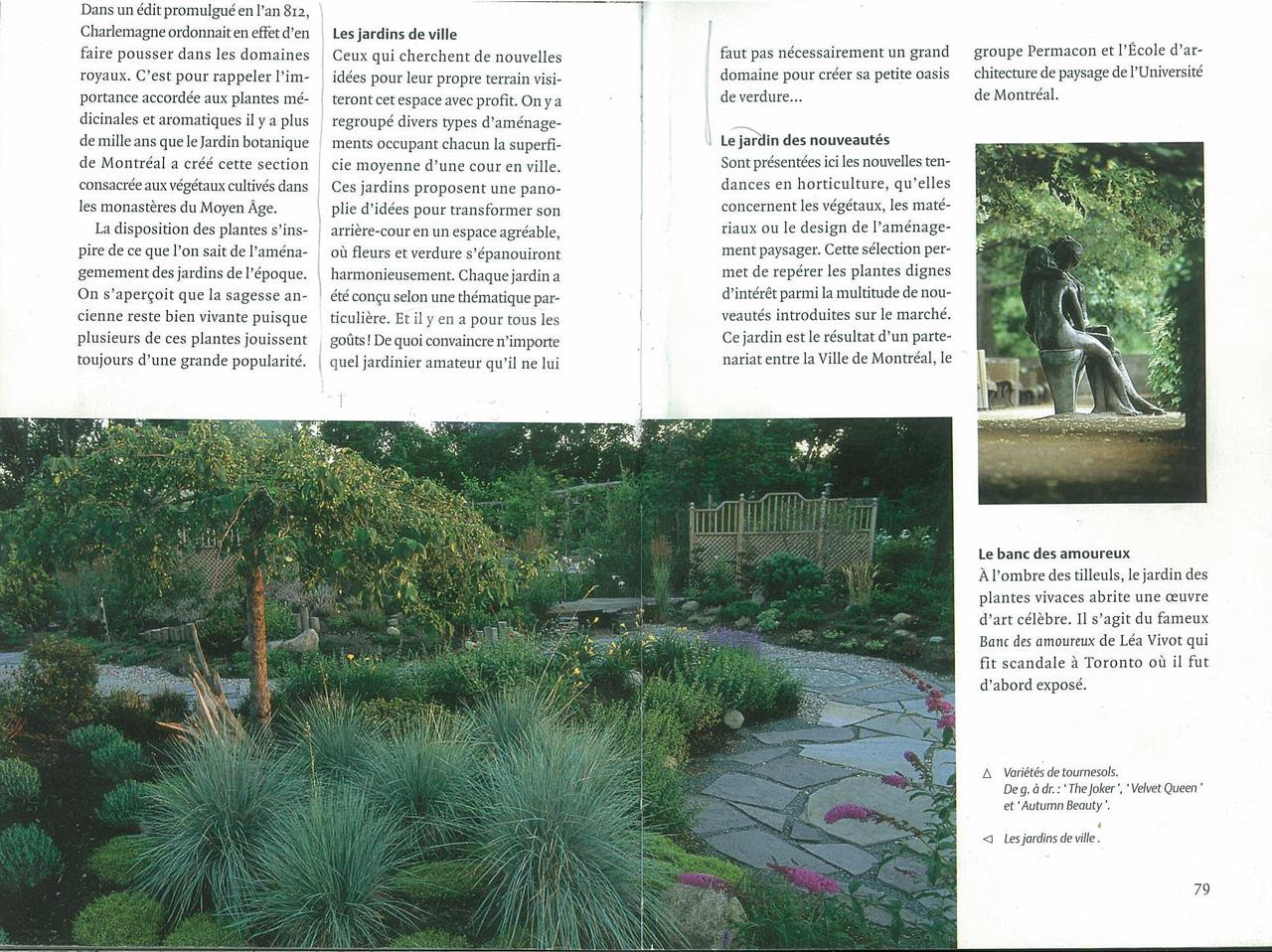 Le projet dans le guide du jardin botanique edition 2000